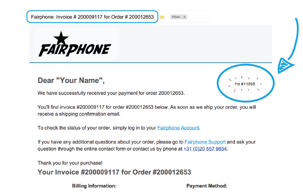 Example of a payment confirmation email